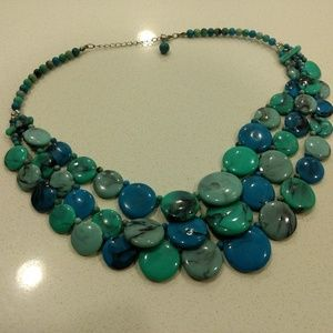 Turquoise Look Bead 3 Strand Stacked Necklace